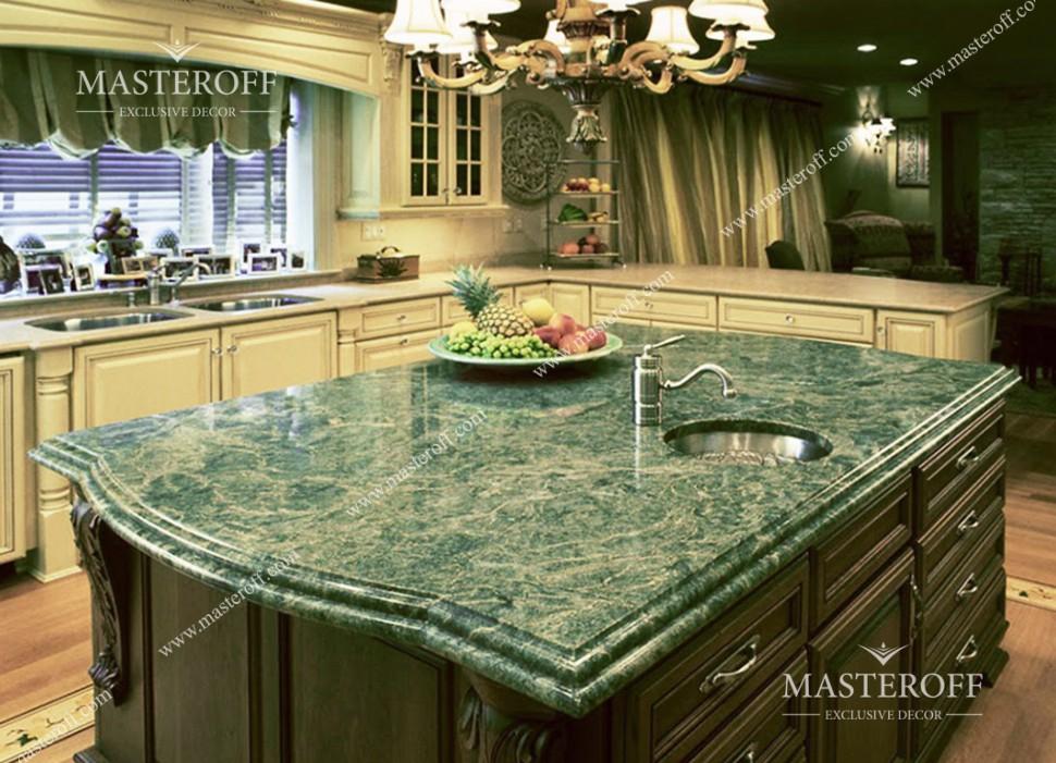 Столешница цвета зеленого оникса Кухня искуственный камень Кропоткинская